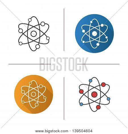 Atom icon. Flat design, linear and color styles. Isolated vector illustrations