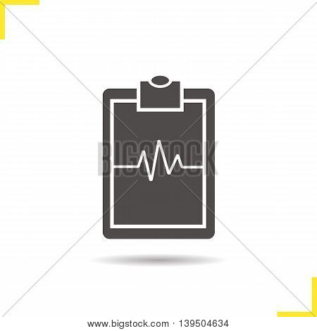 Cardiogram clipboard icon. Drop shadow ekg silhouette symbol. Heartbeat line. Negative space. Vector isolated illustration