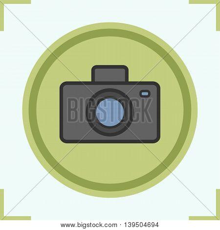 Photo camera color icon. Vector isolated illustration