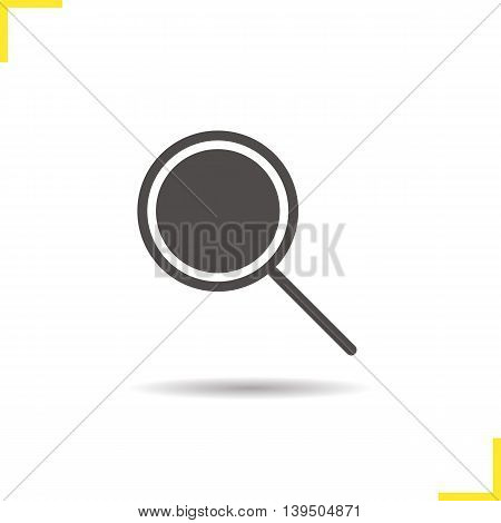 Search icon. Drop shadow magnifying glass silhouette symbol. Loupe vector isolated illustration