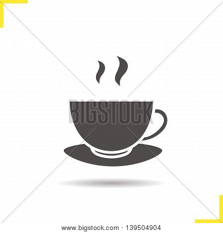 Steaming tea cup on plate icon. Drop shadow silhouette symbol. Negative space. Vector isolated illustration