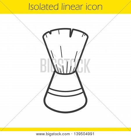 Shaving brush linear icon. Thin line illustration. Contour symbol. Vector isolated outline drawing