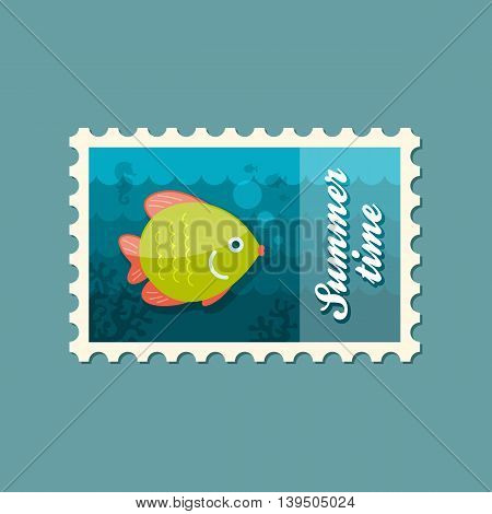 Fish vector stamp. Beach. Summer. Summertime. Holiday. Vacation eps 10