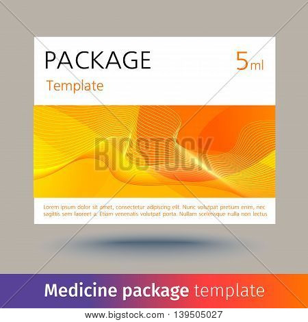 Medicine package template. Designed text. Vector illustration