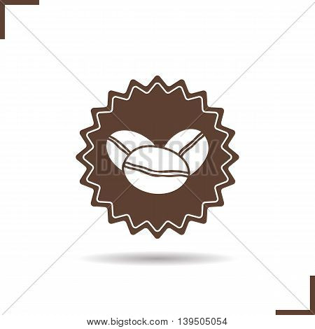 Coffee beans color icons set. Coffee house emblem. Vector isolated illustration