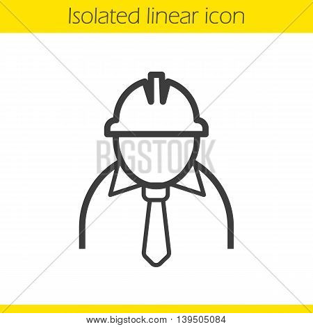 Engineer linear icon. Industrial worker. Architect thin line illustration. Factory chief contour symbol. Vector isolated outline drawing