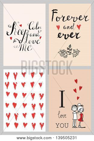 Vector Valentine's greeting cards with red  heats