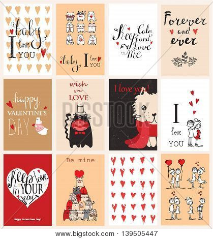 Vector Valentine's greeting cards with cute animals.