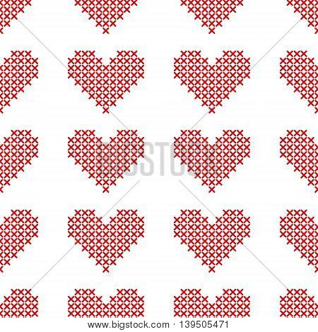 Seamless pattern with cross-stitch hearts on white background. Embroidery style. Art vector illustration.