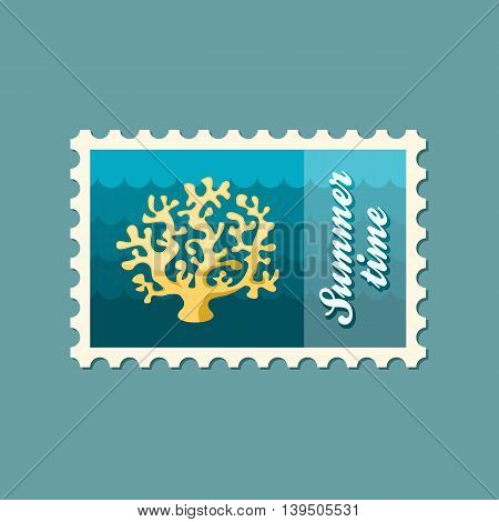 Coral vector stamp. Beach. Summer. Summertime. Holiday. Vacation eps 10