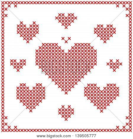 Set of cross stitch embroidery hearts. Different sizes. Art vector illustration