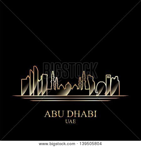 Gold silhouette of Abu Dhabi on black background vector illustration
