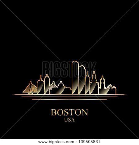 Gold silhouette of Boston on black background vector illustration