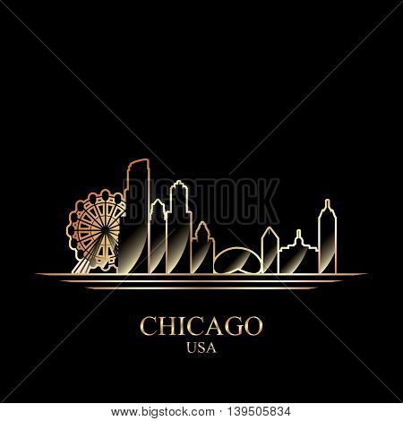 Gold silhouette of Chicago on black background vector illustration