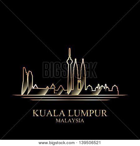 Gold silhouette of Kuala Lumpur on black background vector illustration