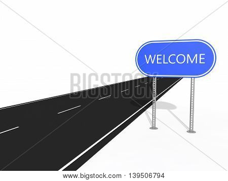 simple road sign plate isolated on white background.