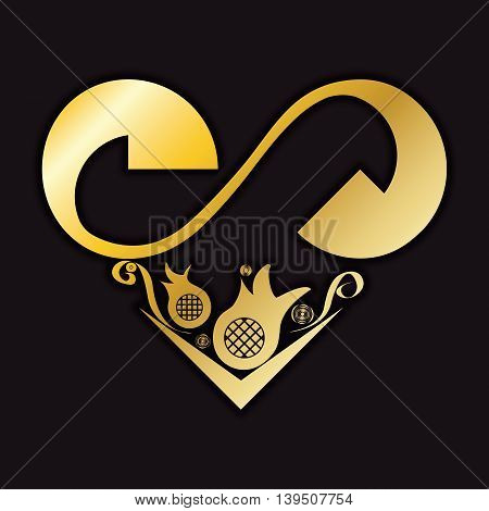 Gold heart with floral pattern for wedding or valentine's day