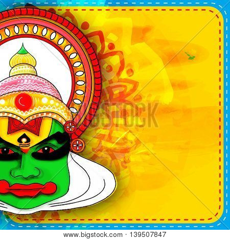 Creative illustration of colorful Kathakali Dancer Face on abstract background, Greeting Card design with space for Happy Onam celebration.