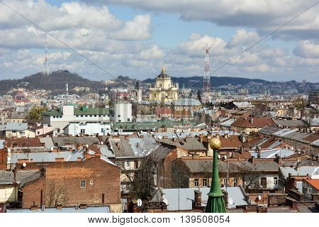 View of Lviv from the belfry of the Church of Saint Elisabeth.