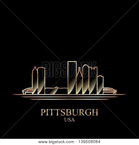 Gold silhouette of Pittsburgh on black background vector illustration