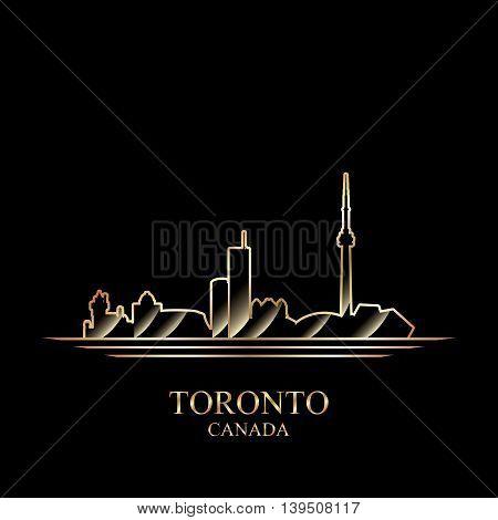 Gold silhouette of Toronto on black background vector illustration
