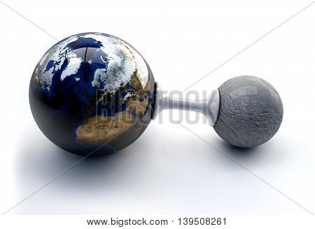 3D Illustration The Earth And Moon On White Background