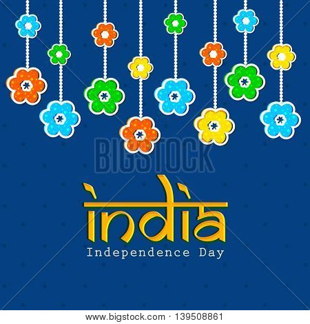 Creative colourful flowers decorated greeting card design for Indian Independence Day celebration.