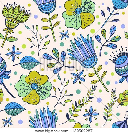 seamless floral pattern. drawn by hand. Abstract