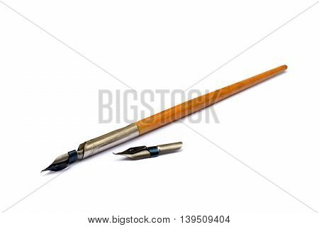 Old ink pen isolated on white background