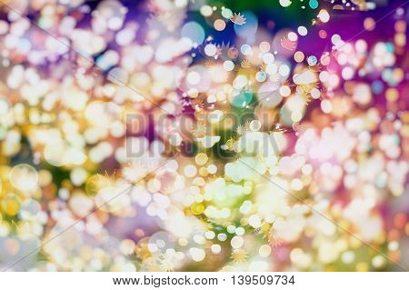 Magic Background With Color Festive background with natural bokeh and bright golden lights. Vintage Magic background