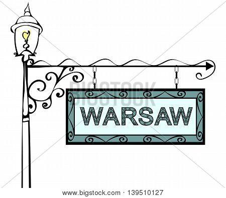 Warsaw retro pointer lamppost. Warsaw Capital Poland tourism travel.
