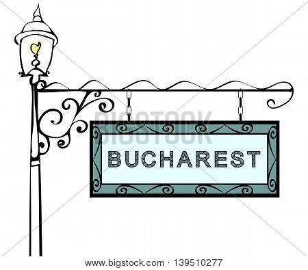 Bucharest retro pointer lamppost. Bucharest Capital Romania tourism travel.