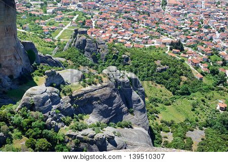 The view on Kalampaka town and Meteora Greece