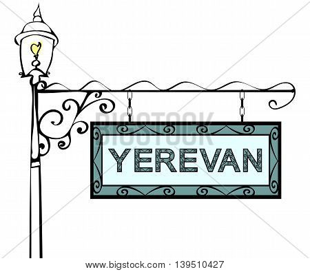 Yerevan retro pointer lamppost. Yerevan Capital Armenia tourism travel.