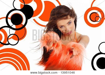 sexy showgirl over abstract round modern design background