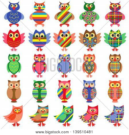 Set of twenty five amusing colorful vector ornamental motley owls isolated on the white background
