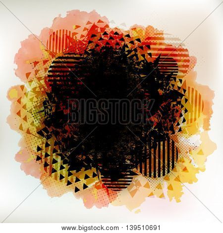 Creative colorful abstract messy background with geometric elements.