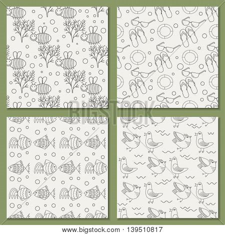 vector set of seamless patterns for the summer theme