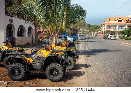 SANTA MARIA CAPE VERDE - DECEMBER 17, 2015: ATV Quads at the Quad Rental. Main street of Sal Island