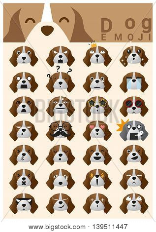 Dog emoji icons , vector , illustration