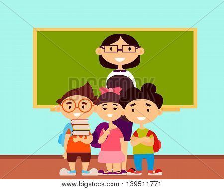 Teacher and students in school classroom. Vector illustration