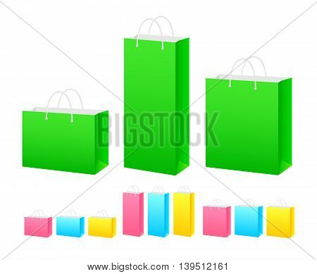 set of colored paper bags of different shapes and sizes