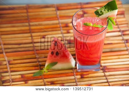 Fresh watermelon juice with mint, lemonade. Healthy drink for summer with vitamins, suits for vegetarian.