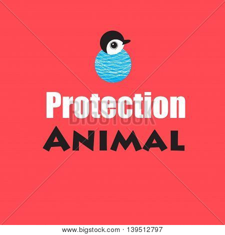 Bright poster with a little penguin on a red background