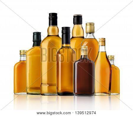 Bottle of whiskey isolated on a white background