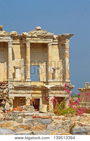 The remains of the enormous Library of Celsus in the city of Ephesus, in modern day, Turkey