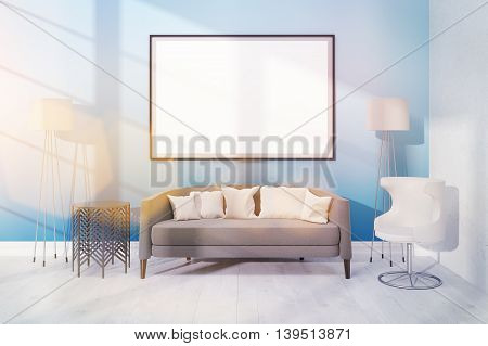 Modern Room With Comfortable Furniture And Large Poster