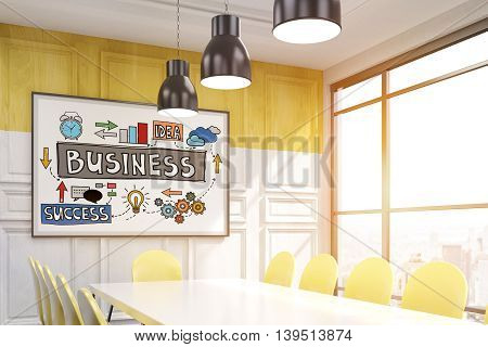 Corner of meeting room in big city. Whiteboard with sketches on wooden wall. Yellow chairs around white table. Big window. Sunlight. 3D rendering. Toned image.