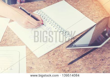 Woman Hand Drawing Scheme