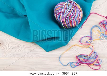 Colorful Bundle Lie On Blue Fabric